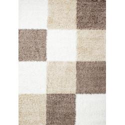 Shaggy carpet checkered brown white beige