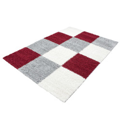 Shaggy Shaggy Carpet Checkered Red White Gray