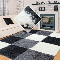 Structure à fibres longues Salon Shaggy Tapis à damier Noir Blanc Gris