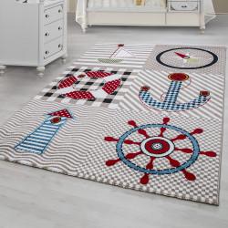 Kinderteppich Kinderzimmer Teppich mit motiven Marine Kids 0510 Beige