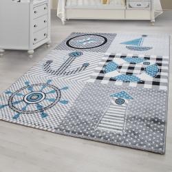 Kinderteppich Kinderzimmer Teppich mit motiven Marine Kids 0510 Grau Blau