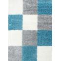 Structure à fibres longues Salon Shaggy Tapis à carreaux Turquoise Blanc Gris