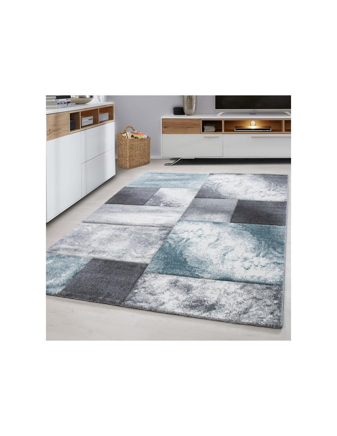 Modern designer contour cut 3D living room rug Hawaii 1710 blue