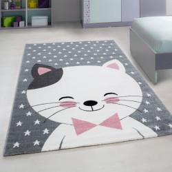 Kinderteppich Kinderzimmer Teppich mit motiven Katze Kids 550 Pink