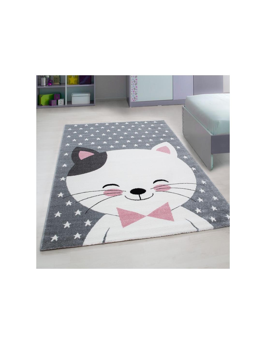 Children's carpet children's room carpet with motifs cat Kids 550 Pink