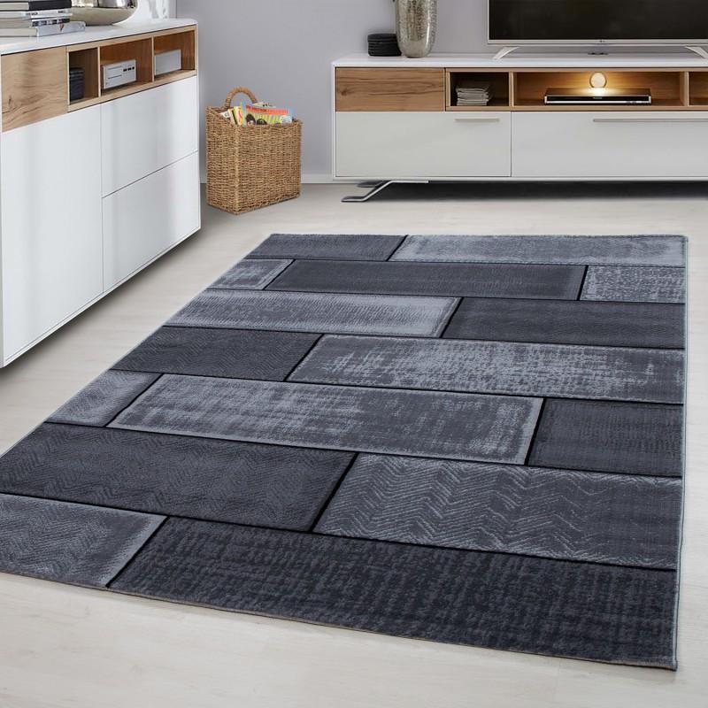 Designer woonkamer tiener slaapkamer tapijt muur motief geruite Plus 8007 Zwart