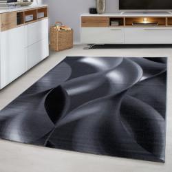 Designer woonkamer tiener slaapkamer tapijt muur motief geruite Plus-8008 Zwart