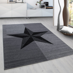 Designer Living Room Teen Bedroom Rug Block Pattern Stone Subject Plus 8002 Gray