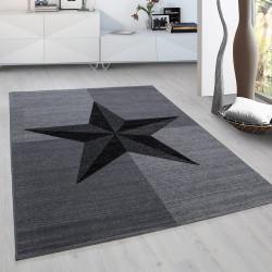 Designer Wohnzimmer Jugendzimmer Teppich Blockmuster Steinmotiv Plus 8002 Grau