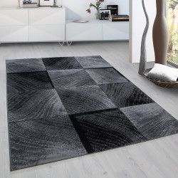 Moderne, Salon Tapis à carreaux Wellenmotiv Plus 8003 Noir