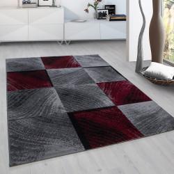 El Diseñador moderno Salón Dormitorio Alfombra Plus 8003 a cuadros en Rojo