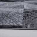Modern Designer living room rug squared wave motif Plus 8003 Black
