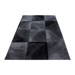 Modern Designer living room rug squared wave motif Plus 8003 Black