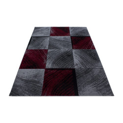 Modern Designer living room teen bedroom rug Plus 8003 Red checkered