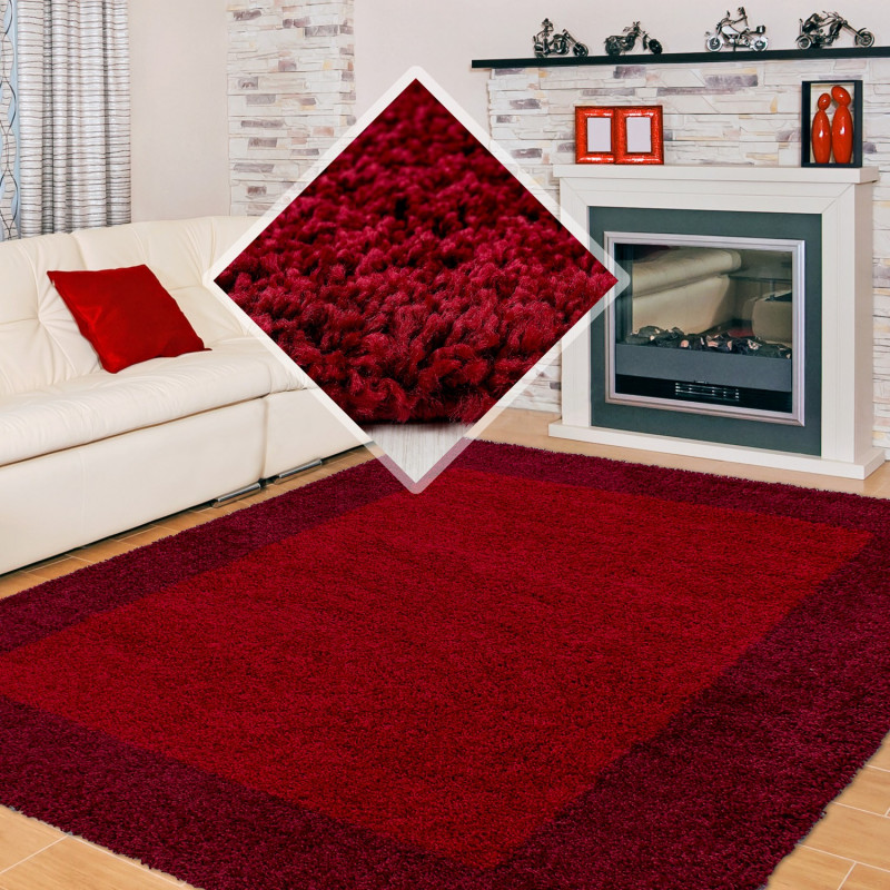 hochflor langflor wohnzimmer shaggy teppich 2 farbig rot und bordeaux. Black Bedroom Furniture Sets. Home Design Ideas