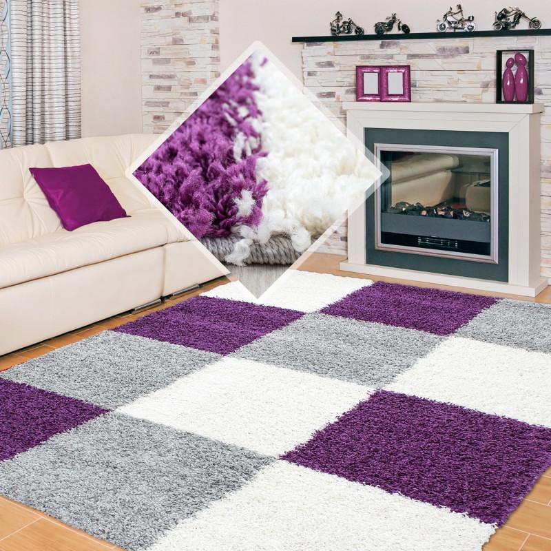 Fibres longues Hirsute Salon Shaggy Tapis 3cm hauteur de la pile à carreaux  Violet Blanc Gris