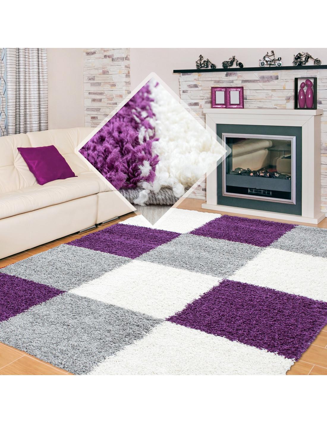 Shaggy carpet pile height 3cm checkered purple white gray