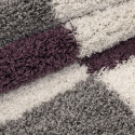 Shaggy pile living room Shaggy carpet pile height 3cm-grey-White-Purple