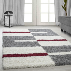 Hoge stapel shaggy woonkamer Shaggy tapijt poolhoogte 3 cm-grijs-Wit-Rood