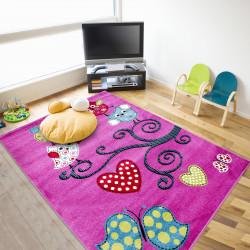 Kinderzimmer Teppich mit motiven Baum Schmetterling Lila