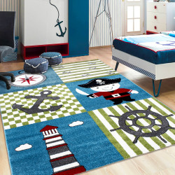 Kinderzimmer Teppich mit motiven Piratenschiff  Multi