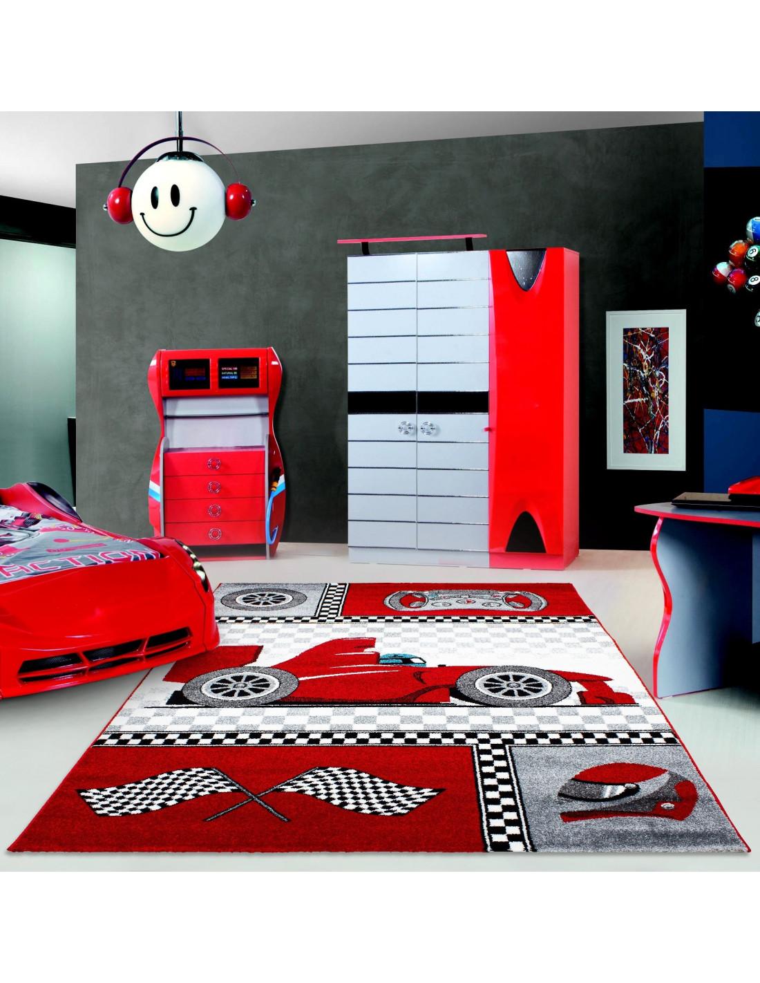 Tappeto per bambini Tappeto per cameretta con motivi Auto da corsa Formula 1 Kids 0460 rossa