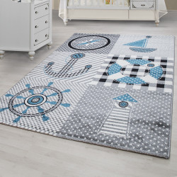 Children's carpet, kids room carpet with motifs Navy Kids 0510 grey Blue