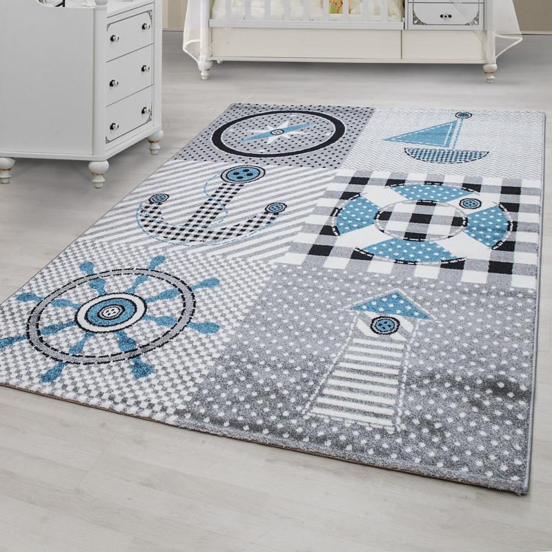 Kinderzimmer Teppich Mit Motiven Marine Grau Blau