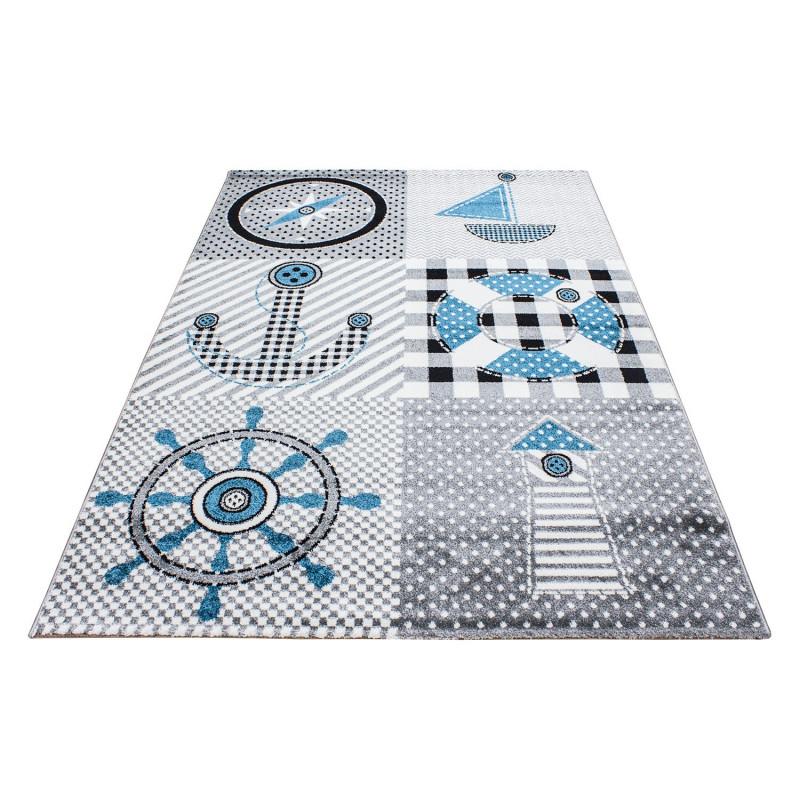 Kinderzimmer Teppich mit motiven Marine Grau-Blau