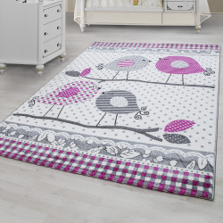 Designer children's rug, kids room rug with bird design Kids 0520 Pink
