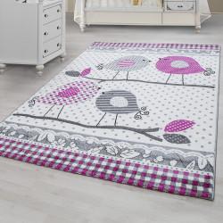 Designer Kinderzimmer Teppich mit Vogelmotiv  Pink