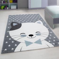 Kinderzimmer Teppich mit motiven Katze-Blue