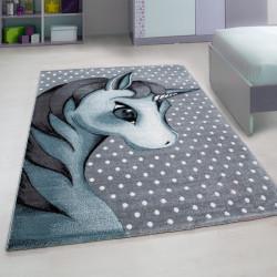 Kinderzimmer Teppich mit motiven Einhorn-Blue