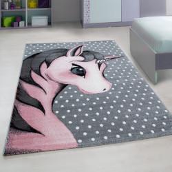 Kinderzimmer Teppich mit motiven Einhorn-Pink