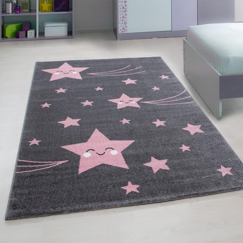 Kinderteppich Kinderzimmer Teppich mit motiven Katze Kids 610 Pink