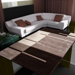 Tappeto da soggiorno 3D dal design moderno con taglio contorno Hawaii 1310 marrone