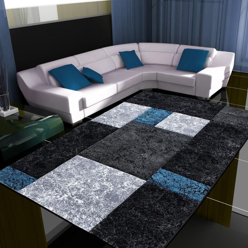 Modern Designer contour cut 3D living room carpet Hawaii 1330 turquoise