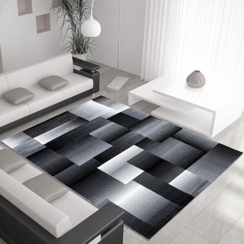 Modern Designer Living Room Carpet Miami 6560 Black