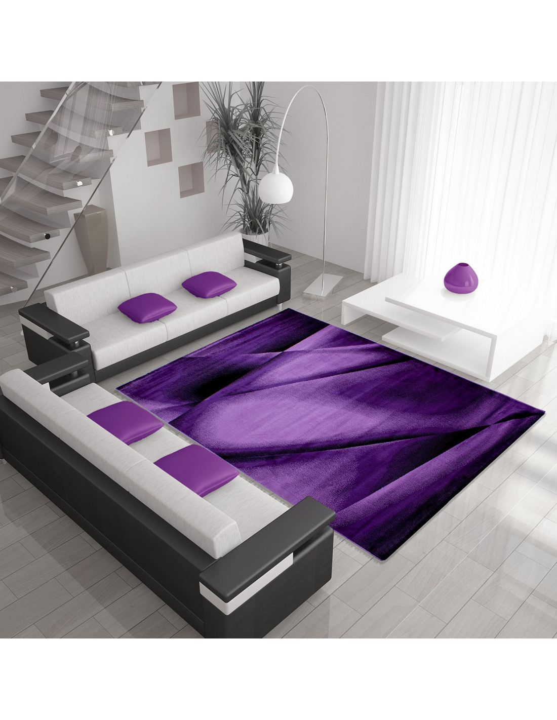Modern designer living room rug MIAMI 6590 LILA