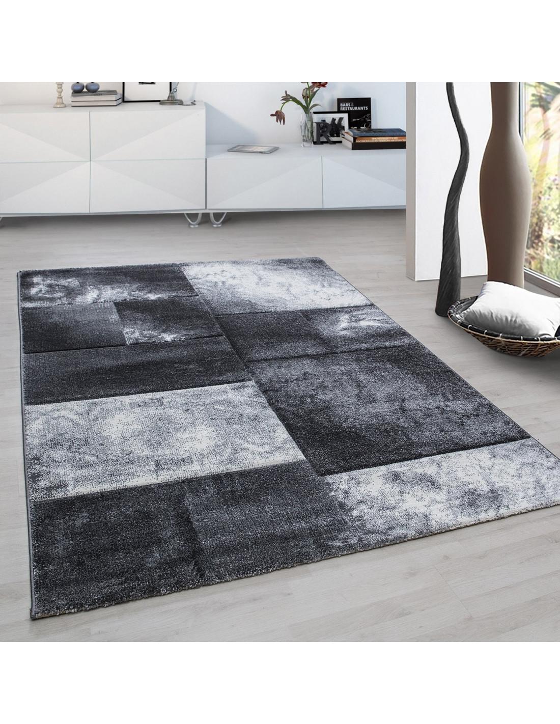Modern designer contour cut 3D living room rug Hawaii 1710 gray