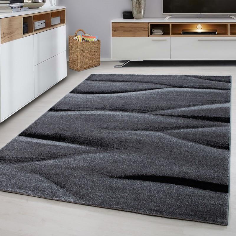 Moderner Designer Konturenschnitt 3D Wohnzimmer Teppich  LUCCA 1810B BLACK