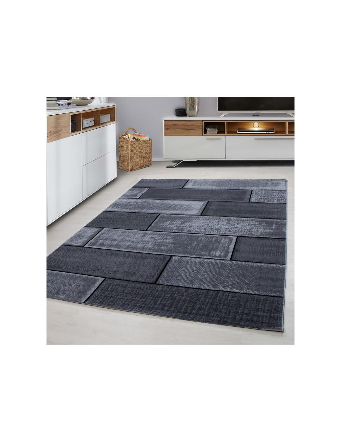 Designer living room youth room carpet wall motif checkered Plus 8007 Black