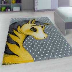La guardería de la Alfombra con motivos de Unicornio-Yellow
