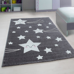 Children's room rug with star gray motifs