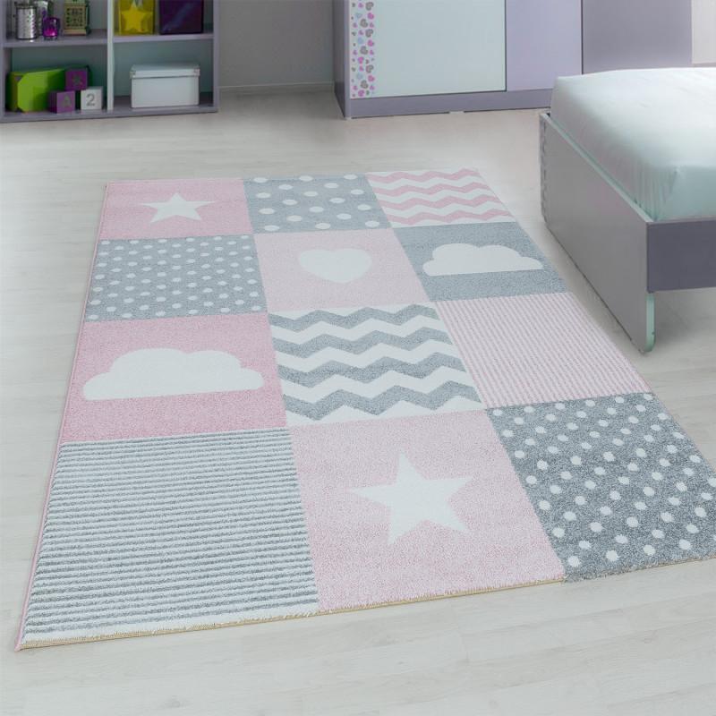 Designer Kinderzimmer Teppich Mit Motiven Pink