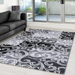 Modern Designer Glitter On The Living Room Carpet Toscana 3130 Black