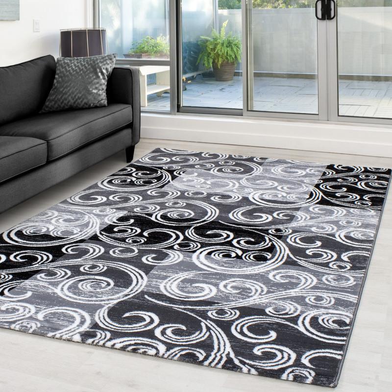Modern Designer Glitter On The Living Room Carpet Toscana 3130 Black