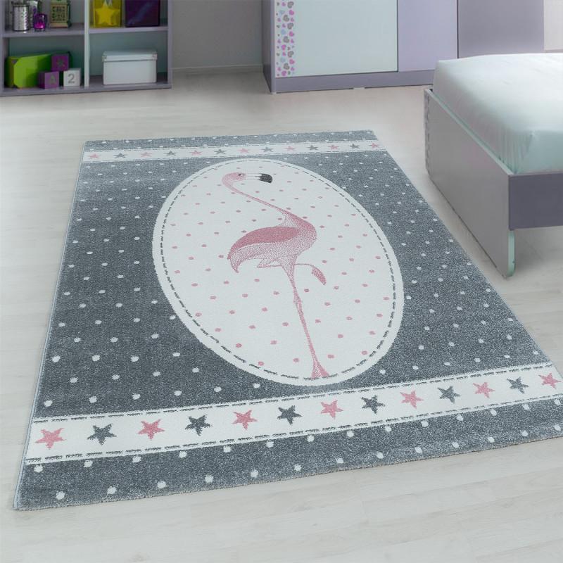 Kinderzimmer Teppich mit motiven Flamingo-Pink