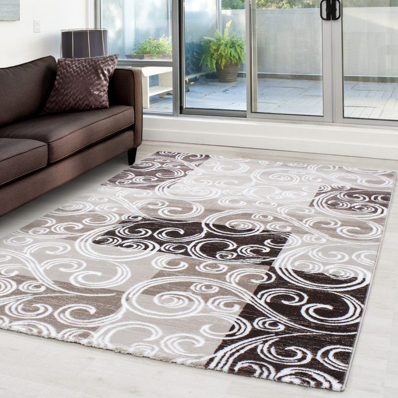 Modern Designer Glitter On The Living Room Carpet Toscana 3130 Brown