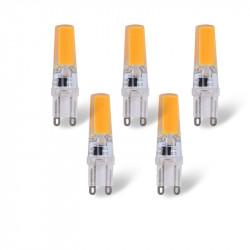 Luxbien LED SET - paquete de 5 - G9 220V 3W LED de la Lámpara - blanco cálido (3000K)